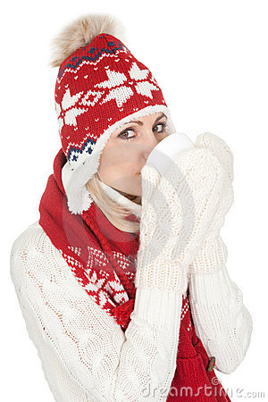 Beautiful woman in warm winter clothing