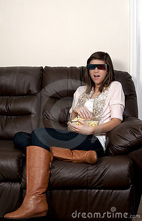 Beautiful Woman Watching TV