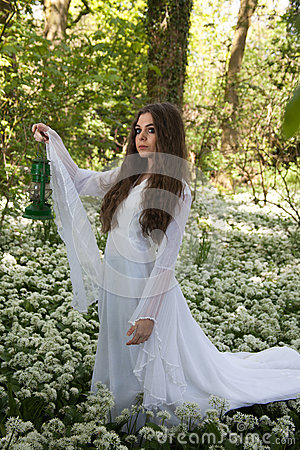 Free Beautiful Woman Wearing A Long White Dress Standing In A Forest Royalty Free Stock Photography - 74196457