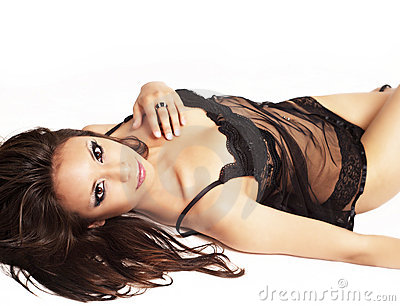 Beautiful woman wearing black lingerie