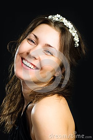 Beautiful woman wearing a diadem