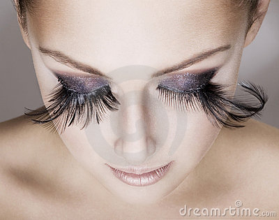 Beautiful woman  wearing false eyelashes