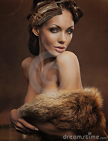 Beautiful woman wearing fur