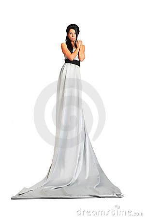 Beautiful woman wearing long silver dress stands