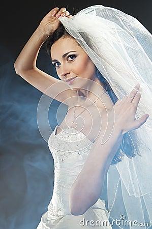 Beautiful woman wearing luxurious wedding dress
