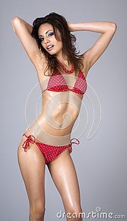 Free Beautiful Woman Wearing Red Bikini Stock Photo - 4459650