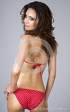 Free Beautiful Woman Wearing Red Bikini Stock Image - 4459761