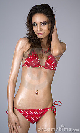 Free Beautiful Woman Wearing Red Bikini Stock Image - 4468311