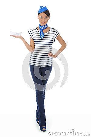 Beautiful woman wearing sailor hat