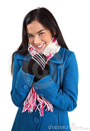 Beautiful Woman Wearing a Scarf and a winter Coat