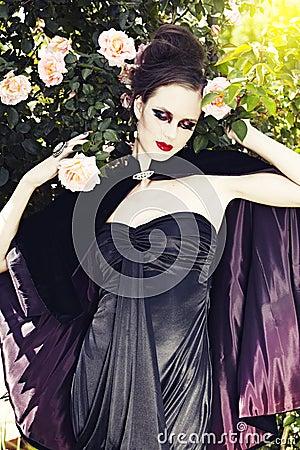 Beautiful woman wearing silk dress