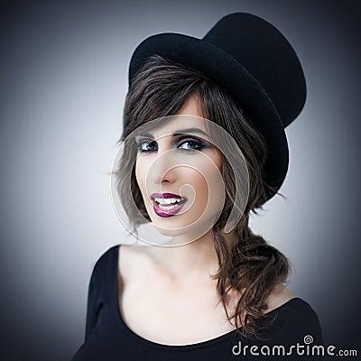 beautiful woman wearing top hat portrait young elegant 30906220