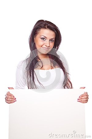 Beautiful woman with white board