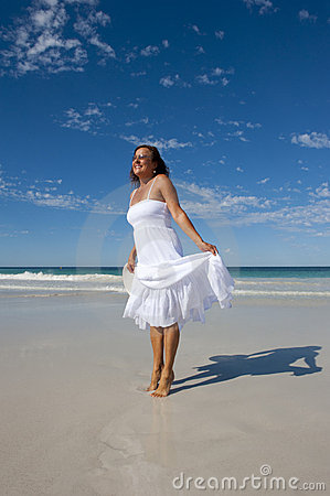 White Beach Dress on Beautiful Woman In White Dress At Beach Royalty Free Stock Photos