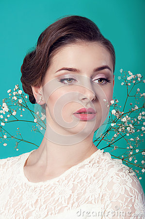 White Dress Bridal Makeup : Beautiful Woman In White Dress On Turquoise Background ...