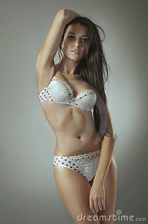 Beautiful woman in white lingerie