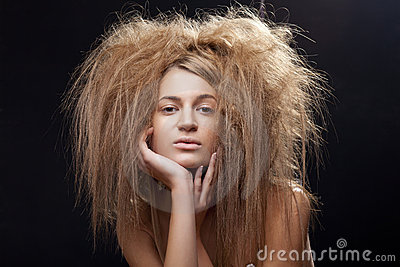 Beautiful woman with wild hair