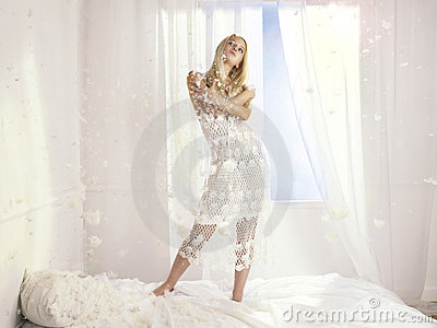 Beautiful woman at the window