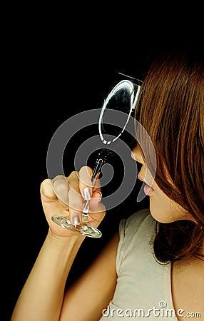 Beautiful woman with wine glass