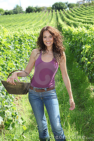 Beautiful woman in wine rows