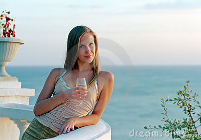 Beautiful woman with wineglass of champagne