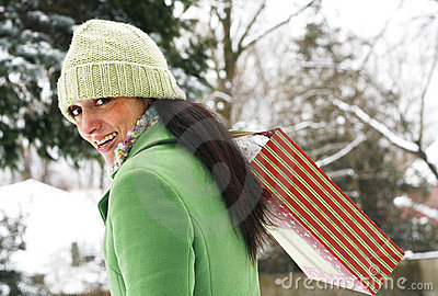 Beautiful woman in winter setting