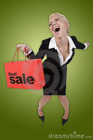 Free Beautiful Woman With A Final Sale Shopping Bag Royalty Free Stock Photos - 6206248