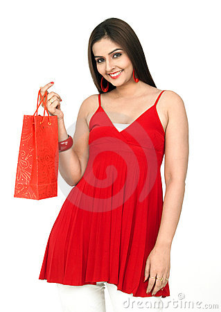 Free Beautiful Woman With A Shopping Bag Royalty Free Stock Image - 8067346