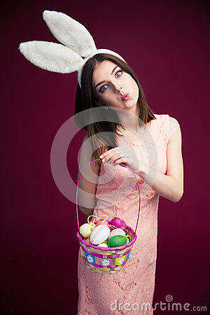 Free Beautiful Woman With An Easter Egg Basket Royalty Free Stock Photo - 52296485