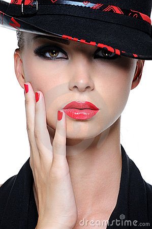 Free Beautiful Woman With Bright Red Lips Royalty Free Stock Photo - 10282695