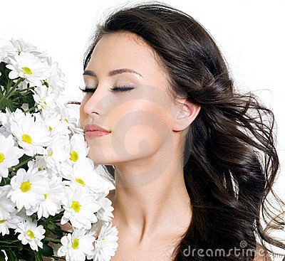 Free Beautiful Woman With Closed Eyes And Flowers Royalty Free Stock Images - 23682409