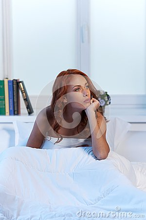 Free Beautiful Woman With Depression Sitting In Bed. Stock Images - 43456094