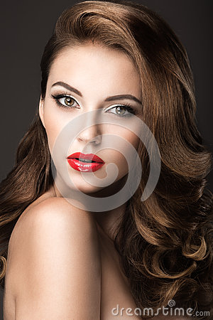 Free Beautiful Woman With Evening Make-up, Red Lips And Curls. Beauty Face. Stock Photos - 46808793