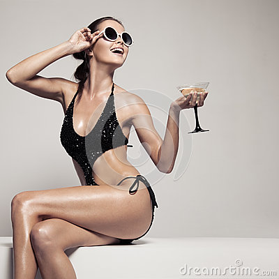 Free Beautiful Woman With Glamour Make Up In Stylish Black  Swimwear. Drink Glass Cocktail. Stock Image - 89586381