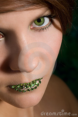 Free Beautiful Woman With Green Lips Stock Photos - 3890583