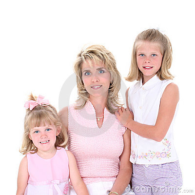 Free Beautiful Woman With Her Daughters Over White Stock Image - 147721