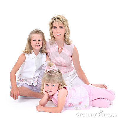 Free Beautiful Woman With Her Daughters Over White Stock Photos - 147723