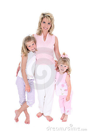 Free Beautiful Woman With Her Daughters Over White Stock Images - 147724