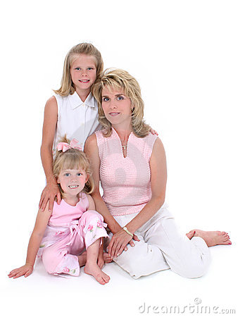 Free Beautiful Woman With Her Daughters Over White Stock Image - 148001