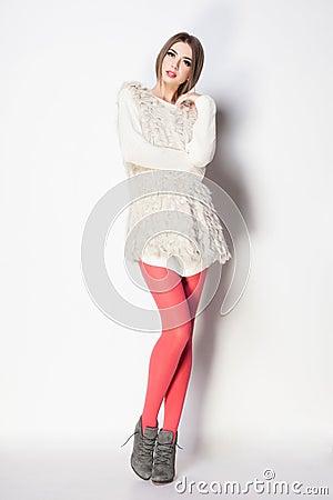 Free Beautiful Woman With Long Sexy Legs Dressed Elegant Posing Stock Image - 55242551