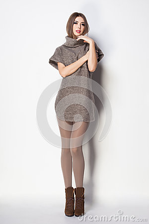 Free Beautiful Woman With Long Sexy Legs Dressed Elegant Posing Royalty Free Stock Images - 55242569