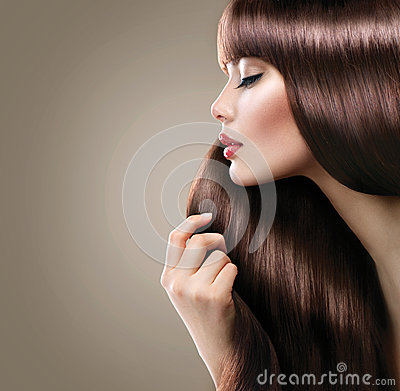 Free Beautiful Woman With Long Smooth Shiny Straight Hair Royalty Free Stock Photos - 46094158