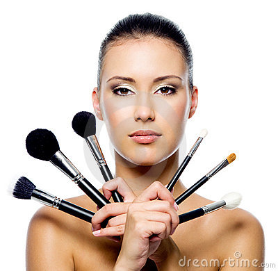 Free Beautiful Woman With Makeup Brushes Royalty Free Stock Image - 16540226