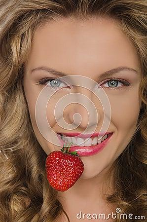Free Beautiful Woman With Strawberry Teeth Stock Photos - 48239123