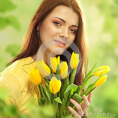 Free Beautiful Woman With Tulips Bouquet Of Flowers Royalty Free Stock Image - 38445486