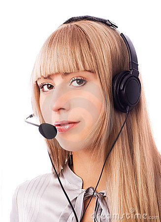Beautiful woman working in the call-center