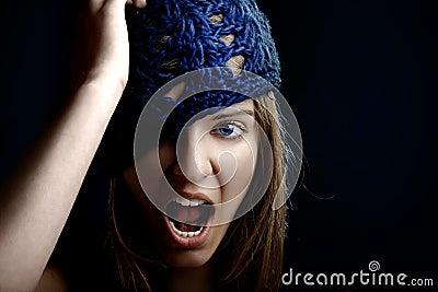 Beautiful woman yelling