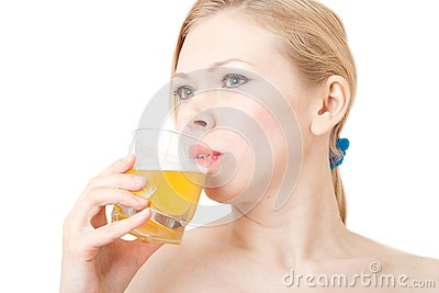 Beautiful women drinks juice
