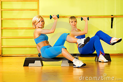 Beautiful women exercising
