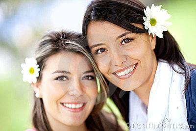 Beautiful women with flowers